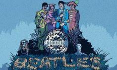Illustration, of decrepit Beatles on Pepper album parody, by Robert G Fresson