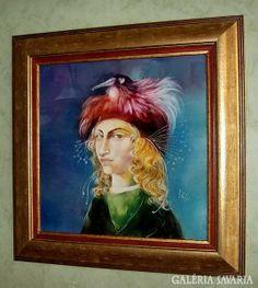 Szász Endre női portréja gyönyörű, a középkort idéző rubin, smaragd, égszínkék színvilággal, a madár csőrében egy gyöngyszemmel. Hungary, Painting, Art, Art Background, Painting Art, Kunst, Paintings, Gcse Art
