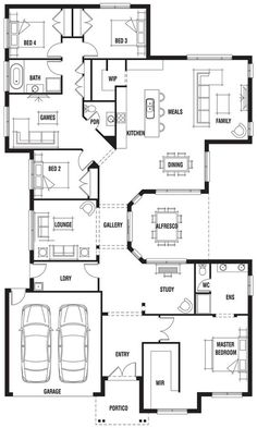 """But switch the entry and laundry, and open up the """"lounge"""" space into a living space. Then make the game room another bedroom. House Design: Hillside - Porter Davis Homes 4 Bedroom House Plans, Family House Plans, Dream House Plans, Modern House Plans, Small House Plans, House Floor Plans, Unique House Plans, Unique Floor Plans, Casas The Sims 4"""