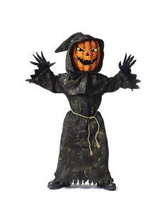 Bobble Head Pumpkin Child's Costume - Your child simply puts on the robe and bobble head and is ready to go in less than 5 min!