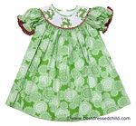 Cukees Girls Green Snow Print Smocked Christmas Reindeer Bishop Dress