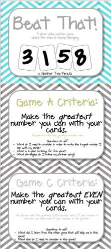 Need a great lesson for an observation... or just want your kids to fully understand properties of place value and multi digit addition and subtraction... then you need this highly engaging place value product.  It includes lesson EQs and objectives, 3 different game versions that change as you move through your place value unit, and built in assessments.  This is a must have!! $