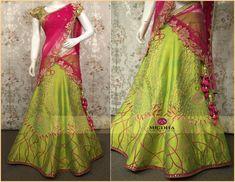 Splendid Half Saree by Mugdha Arts - Saree Blouse Patterns Half Saree Designs, Pattu Saree Blouse Designs, Lehenga Designs, Half Saree Lehenga, Anarkali Dress, Sari, Indian Wedding Outfits, Indian Outfits, Mehendi Outfits