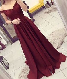 Burgundy A-line Off the Shoulder Pleated Sweep Train Prom Dress,Mop the floor long prom dress