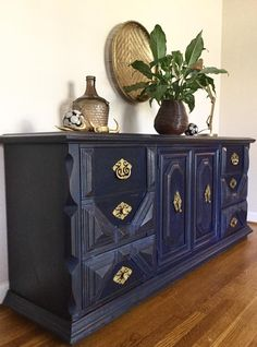 Girl In Blue Designs :l: CeCe Caldwell's Chalk + Clay Paint :l: Windsor Blue :l: Buffet :l: Restyled :l: Painted Furniture