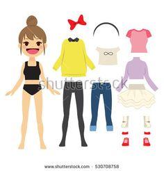 Kakigori Studio flat cute paper doll girl bun hairstyle #paper #doll #paperdoll #cute #character #game #vector #illustration #cartoon #royalty #stock