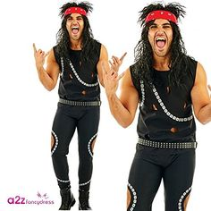 Metal Band Costume for Men with trousers, vest, belt and headband. Sizes M, L or XL. 80s Party Costumes, 1980s Costume, Halloween Costumes, Rock Costume, Costume Dress, 80s Metal Bands, 80s Outfit, Rock Outfits, Fancy Dress