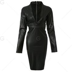 Plunging Neck Faux Leather Long Sleeve Bandage Dress (€5,12) ❤ liked on Polyvore featuring dresses, fake leather dress, long sleeve faux leather dress, long sleeve plunging neckline dress, plunging neckline dress and long sleeve day dresses