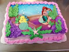little mermaid cake. Great decorating ideas for your guest of honors birthday cake! Little Mermaid Cakes, Little Mermaid Birthday, Little Mermaid Parties, Baby Girl Birthday, Ariel The Little Mermaid, 7th Birthday Cakes, Fourth Birthday, Birthday Parties, Walmart Cakes