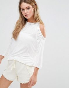 Find the best selection of Esprit Crochet Trim Cold Shoulder Top. Shop today with free delivery and returns (Ts&Cs apply) with ASOS! Crochet Trim, Cami, White Shorts, Cold Shoulder, Summer Outfits, Asos, V Neck, Shirts, Shopping