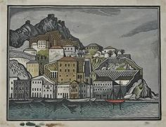 Hydra. Woodcut 1950. Tassos (Tassos Alevizos). Greek Paintings, Scratchboard, 10 Picture, Greek Art, Wood Engraving, Cubism, Conceptual Art, Art Forms, Cover Art