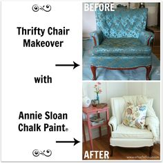 French Chair Makeover Before and After --- Transformed this $25 chair with Annie Sloan Chalk Paint!