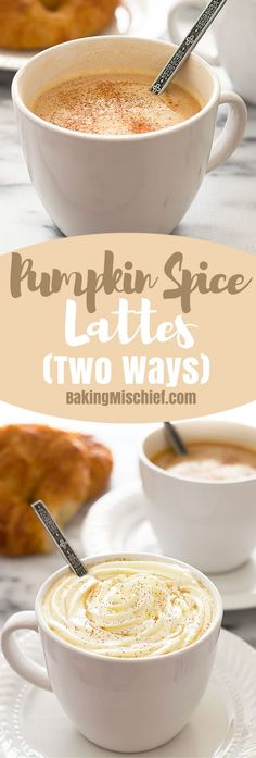 This Pumpkin Spice Latte recipe uses real pumpkin and can be made two ways, as a light pumpkin spice latte or as a more decadent version. Recipe includes nutritional information. From BakingMischief.com