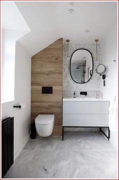 Ensuite bathroom renovation of dreams! This tiny bathroom (around was tran… Ensuite bathroom renovation of dreams! This tiny bathroom Wood Bathroom, Family Bathroom, Bathroom Flooring, Bathroom Black, Bathroom Mirrors, Bathroom Cabinets, Master Bathrooms, Modern Marble Bathroom, Bathroom Lighting