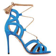 Mirage 105 | AQUAZZURA. Blue cutout heels. The perfect addition to a summer outfit. | Luxuryshoeclub.com