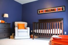 Navy Nursery with Orange Accents - #babyboy #nursery