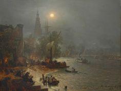 """""""ACHENBACH, Andreas (1815-1910): 'Nächtliche Ansicht von Amsterdam', signiert, datiert 89, Öl/Holz, 71 x 91 cm (verso Aufkleber der Hofkunsth..."""""""