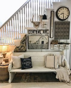 farmhouse style gallery wall in the entryway - great pin for cottage and farmhouse decor.
