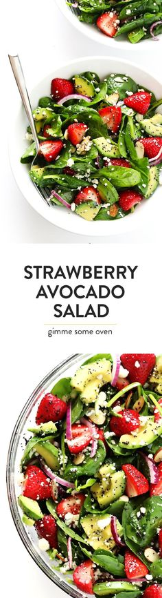 One of my favorite salad recipes!! It's full of strawberries, avocado, red onion, goat (or blue) cheese, and tossed with an easy poppyseed dressing. So fresh and delicious!   http://gimmesomeoven.com