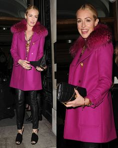 Cat Deeley Stands Out in a Fuchsia Coat and Jimmy Choo Heels