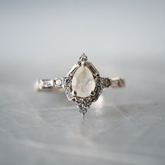 Selene Moonstone Diamond Ring