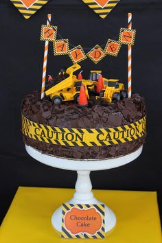 Construction Themed Cake ~ Birthday Party with Lots of Awesome Ideas via Kara's Party Ideas by sheena Construction Birthday Parties, Construction Party, 4th Birthday Parties, Third Birthday, Boy Birthday, Birthday Cake, Birthday Ideas, Dump Trucks, Dump Truck Cakes