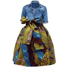 Meni African Print High Waist Full Skirt (Multipattern)- Clearance