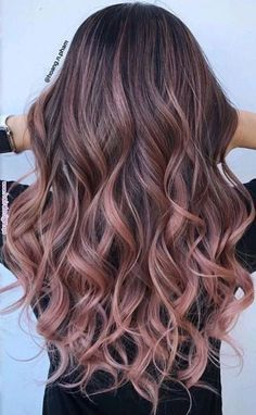ideas for hair color ideas for brunettes balayage rose gold haircolor – Hair – Hair is craft Gold Hair Colors, Hair Color Pink, Cool Hair Color, Brown Hair Colors, Ombre Colour, Lip Colors, Rose Pink Hair, Pink Lips, Gold Colour