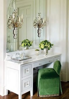 Vanity with green velvet chair