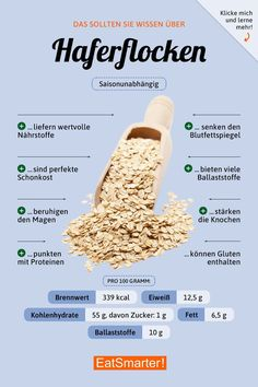 happens when you eat oatmeal every day! - You should know this about oatmeal in a healthy one -This happens when you eat oatmeal every day! - You should know this about oatmeal in a healthy one - Das solltest du über Sonnenblumenkerne wissen Healthy Eating Tips, Healthy Life, Healthy Living, Clean Eating, Healthy Recipes, Healthy Foods, Diet And Nutrition, Nutrition Plans, Nutrition Guide