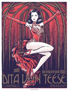 Image of Dita Von Teese - Limited Edition show poster by Dave Berns / Hot Damn Arts.