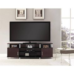 70 Inch TV Stand Black/Cherry Wood Living Room Entertainment Center Gaming Media #AltraFurniture #Modern