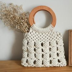 Your place to buy and sell all things handmade : Vintage bohemian macrame bag,Handle woven bag,Summer Accessory Macrame Supplies, Macrame Projects, Macrame Purse, Macrame Design, Macrame Patterns, Vintage Bohemian, Bead Crochet, Etsy, Weaving