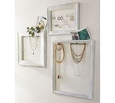 DIY: Jewelry Display Frames - Pottery Barn Knockoff - using old frames, cup hooks, paint & cording, she turned unused frames into something she could display & organize her jewelry. Jewelry Frames, Jewelry Wall, Jewlery, Jewellery Storage, Jewelry Organization, Diy Jewellery, Organization Ideas, Necklace Storage, Necklace Display