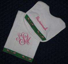 Cute, cute baby monogrammed baby gift