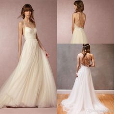 2016 Bhldn Elegant Summer Holiday Beach Boho Strappy Backless Wedding Dresses Lace Tulle Spaghetti Cheap Bohemian Wedding Gown Cheap Lace Wedding Dresses Cheap Wedding Gowns From Gaogao8899, $99.3| Dhgate.Com