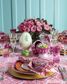 A patterned and colorful Easter table