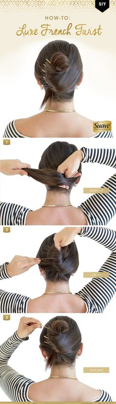 Stand out with this modern take on the French Twist. Style It Yourself like @psimadethis by blow drying hair w/ Suave Professionals Luxe Style Infusion Smoothing Lightweight Weather Proof Cream for a sleek base. Step 1: Gather hair behind your head. Step 2: Twist and loosen the top section of your hair. Step 3: Secure the middle of the twist w/ large bobby pins. To make sure your hair stays up and tame flyaways, finish with Suave Professionals Luxe Style Infusion Smooth Anti-Humidity…