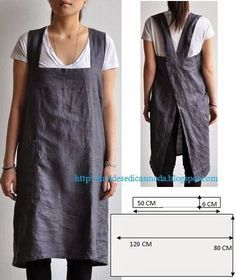 Work apron, another great idea from Moldes Moda por Medida. via moldes dicas moda Sewing Hacks, Sewing Tutorials, Sewing Crafts, Sewing Projects, Sewing Patterns, Apron Patterns, Dress Patterns, Apron Pattern Free, Sewing Tips