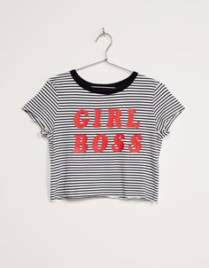 BSK 'Girl Boss' striped top. Discover this and many more items in Bershka with new products every week