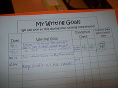 During writing conferences, create goals with students. Have them highlight examples of meeting those goals. Good starting point for writing conferences. Writing Goals, Writing Strategies, Writing Lessons, Writing Resources, Writing Activities, Writing Ideas, Writing Rubrics, Essay Writing, Writing Binder