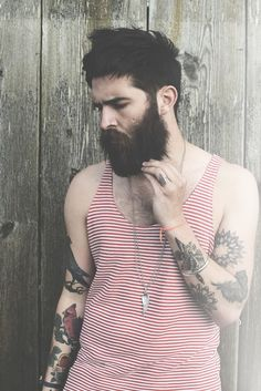 Chris John Millington brooding and looking beautiful - full thick dark beard and mustache beards bearded man men mens' style tattoos tattooed model handsome #goodhair #beardsforever