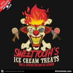 Sweet Tooth's Ice Cream Treats T-Shirt - Twisted Metal T-Shirt is $11 today at Ript!