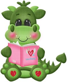 Would love this with some pattern mixing in the fabrics to make it look more patchwork. Love that she's reading a book! Cute Images, Cute Pictures, Cartoon Dragon, Cute Dragons, Cute Clipart, Baby Dragon, Dragon Art, Applique Patterns, Punch Art