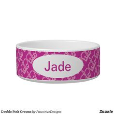 Double Pink Crowns Bowl Crown Pattern, Pink Crown, Food Bowl, Pet Bowls, Candy Jars, Ceramic Bowls, Diy Face Mask, Dog Design, Cute Designs