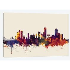 "East Urban Home 'Skyline Series: Boston, Massachusetts, USA II on Beige' by Michael Tompsett Painting Print on Wrapped Canvas Size: 40"" H x 60"" W x..."