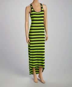 Take a look at the Lime Stripe Scoop Neck Maxi Dress on #zulily today!
