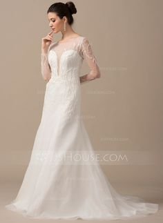 [US$ 359.99] A-Line/Princess Scoop Neck Sweep Train Tulle Wedding Dress With Beading Sequins