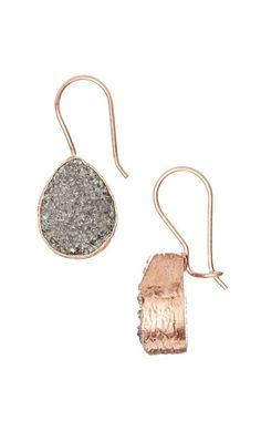Rose Gold & Gray Druzy Crystal Teardrop Earrings
