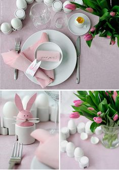look at that cute pink egg bunny- easter morning breakfast